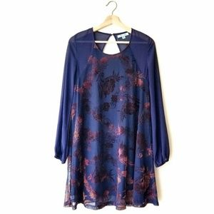 She and Sky Silk Velvet Floral Brocade LS Dress